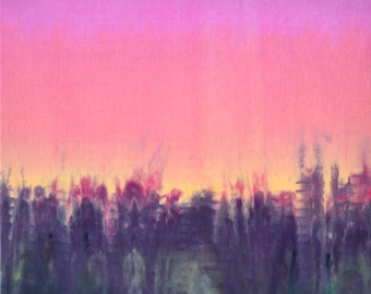 One of a kind textile wall art - original dyed textile art ready to hang - Sunset inspired