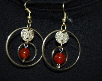 Hoop Amber Glass Gold Earrings