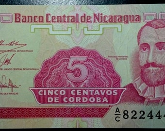 Vintage Uncirculated Banco Central De Nicaragua 5 Cinco Centavos Banknote Very Crisp Antique  Banknote Currency