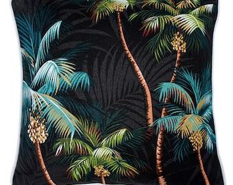 Tropical Cushion, Palm Trees on Black, Island, Beach, Coastal, Polynesian, Hawaiian, Barkcloth, Cotton,
