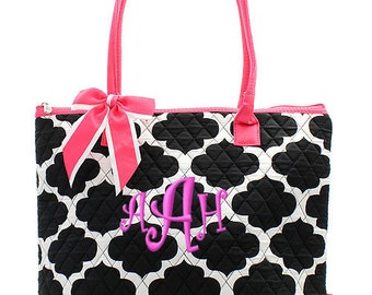 "Personalized Quilted Geometric Print Tote with Detachable Bow - Large 12"" Black and White Tote with Pink Handles - NPB1515-HP"