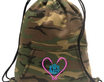 Sweatshirt material cinch bag with front pocket and embroidered spirit design - Fishing Hook Heart - Multiple Colors - Camouflage - BG614