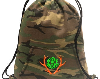 Sweatshirt material cinch bag with front pocket and embroidered spirit design - Deer Antlers - Multiple Colors - Camouflage - BG614
