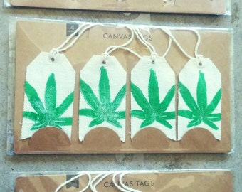 4pk Weed Leaf Canvas Tags