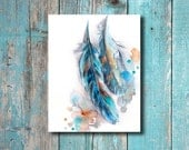 Feather Watercolor Print, Turquoise Feathers Watercolor Painting Art Print, Wall Art