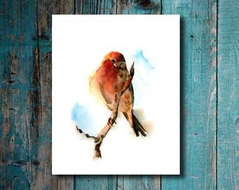 Birdie Wall Art Print, Watercolor Painting Print, Bird Painting, Home Decor