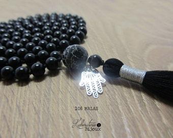 108 BLACK ONYX MALA Necklace, 108 mala beads, tassel neclace, hand knotted necklace, mala necklace, meditation beads, japa mala