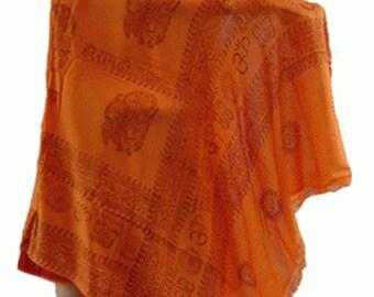 OM Yoga Orange Cotton Shawl,NEPAL