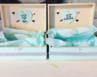 Will You Be My Bridesmaid Box - Aqua and Ivory - Bridesmaid Gifts and Maid of Honor Gifts - BE MY MAID?