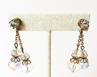 Aurora Borealis Earrings, Aurora Borealis Vintage, Bridal Earrings Vintage, Vintage Earrings, Glass Bead Drop Earrings, Wedding Earrings