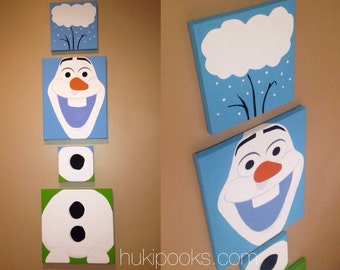 Olaf from Frozen Inspired Acrylic Painting, Set of Four Canvases
