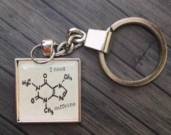 Chemistry I need Caffeine Molecule Keychain