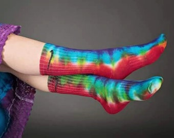 Rainbow tie dye Nike socks, tie dye socks, socks, tie dye, rainbow, hippie clothes, Nike socks, long socks, bohemian style