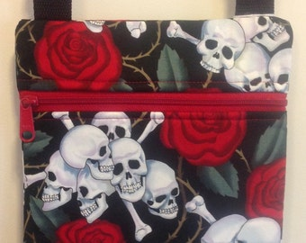 Skull and Roses purse skull and roses cross body bag with zipper and adjustable strap, skull and roses accessories, Gothic gift for her