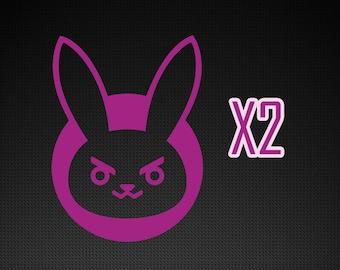 Overwatch sticker d.va latptop decal - D.VA rabbit decal x2