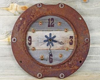 Rustic Wall Clock, Urban Industrial Clock, Rustic Home Decor, Rusted Metal Clock, Western Cowboy Decor, Wedding Gift, Industrial Clock