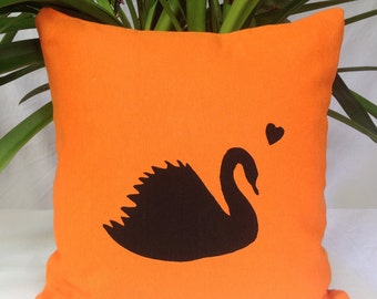 ON SALE Swan Love Silhouette Orange Cushion Cover