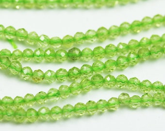 """One full strand Faceted Peridot,Beautiful Natural Faceted Round Gemstone,2mm,hole1mm,13.5""""-GEM1062"""