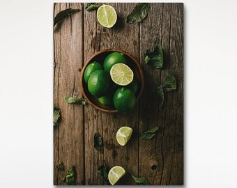 Limes Art Print, Food Photo, Rustic Decor, Canvas Art, Food Print, Kitchen Art