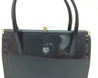 Vintage handbag, 1960s Freedex bag, black patent leather handbag, Freedex handbag, 1970s handbag, top handle bag, black leather kelly bag,