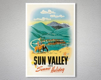 Sun Valley Idaho Summer Holiday Vintage Travel Poster - Poster Print, Sticker or Canvas Print / Gift Idea