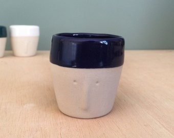 """""""Friend"""" blue night - Cup espresso Cup / pot to plants - sandstone - small handmade in my Studio - ready to ship"""