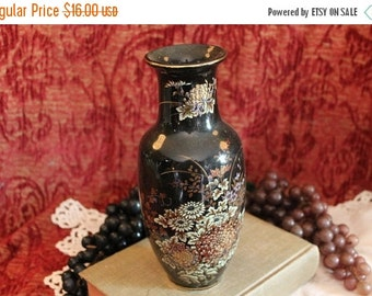 "Christmas In July Vintage Black Ceramic 8.25"" Vase Adorned with Hand Painted Chrysanthemums"