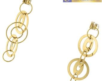 Chic Carolina Bucci Italy 18K 750 Yellow Gold Interlocking Hoop Dangle Earrings