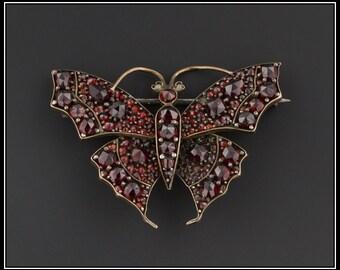 Antique Bohemian Garnet Butterfly Pin | Antique Butterfly Brooch | Bohemian Garnet Jewelry | Antique Garnet Pin