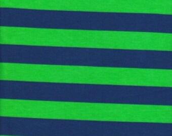Bold Stripes Lime/Navy Cotton Lycra fabric!