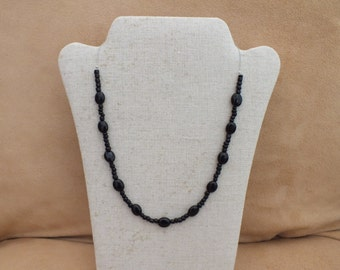 Black beaded necklace, minimalist necklace
