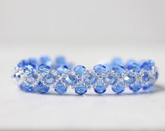 Sapphire Blue and Silver Right Angle Weave Bracelet