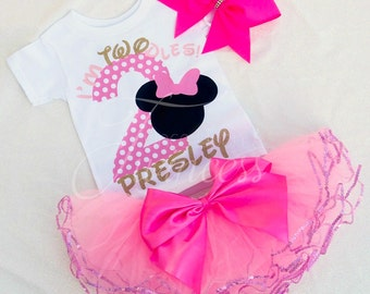 I'm Twodles Birthday set - Minnie Mouse 2nd Birthday outfit - Second Birthday outfit girl- I'm Twoodles shirt - pink 2nd Birthay outfit