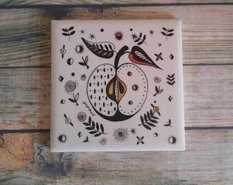 Georges Briard Tile Trivet, Forbidden Fruit, Apple, Black and Gold