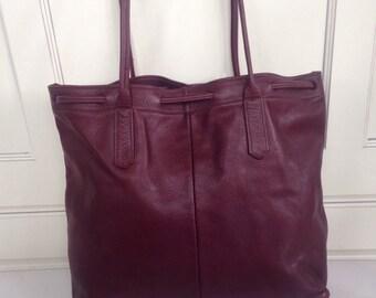 Large oxblood/ red leather drawstring shopper bag