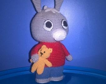 Donkey Trotro and Teddy bear, amigurumi crochet toy