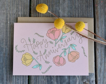 Anniversary Card, Floral Anniversary Card, Card for Wife