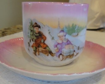 Vintage Pink Child Cup and Saucer