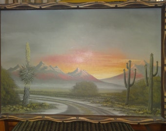 Vintage Signed Desert Painting on Board/Cactus/Mountains/Highway /Sunset/Signed