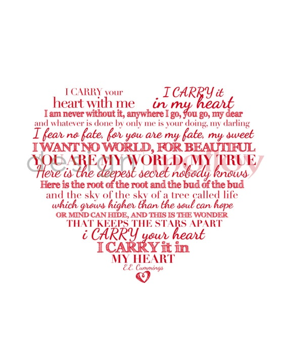 I Carry Your Heart Print E E Cummings Valentine S By