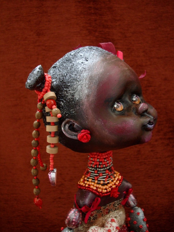 African doll - Dark skin girl in red dress - Black girl - African art interior doll as gift - Poseable collectible doll