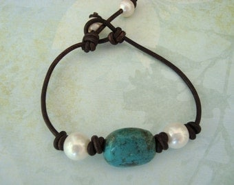 TURQUOISE/ PEARL LEATHER Knotted Bracelet