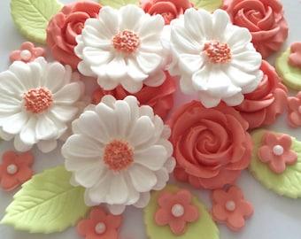 PEACH ROSE BOUQUET edible sugar paste flowers wedding cake decorations