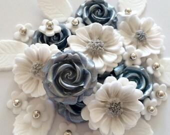 SILVER WEDDING BOUQUET edible sugar paste flowers cake decorations