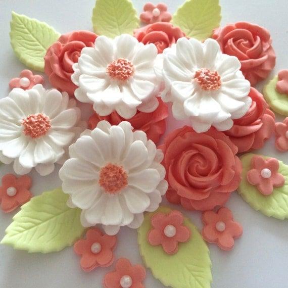 Cake Decorating Gum Paste Nz : PEACH ROSE BOUQUET edible sugar paste flowers wedding cake