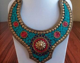 Vintage Turquoise Coral Lapis Necklace