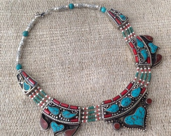 Vintage Turquoise Coral Necklace