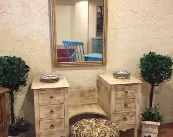SOLD***Vintage Waterfall Dresser/Mirror
