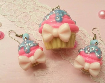 Cupcake pendant + earrings pink/blue