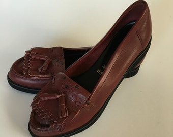 Oxblood Leather Tassel Loafers size 7.5